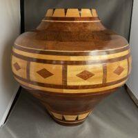 wood turned art, wood turned large vase, wood turned redwood burl, yellow heart panels redwood turned vase, decorative wood pieces