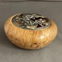 wood turned lidded bowl, lidded bowl maple, maple burl lidded bowl, wood turned bow art