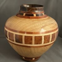 maple vase, mape rosewood vase, wood turned maple vase, wood turned art